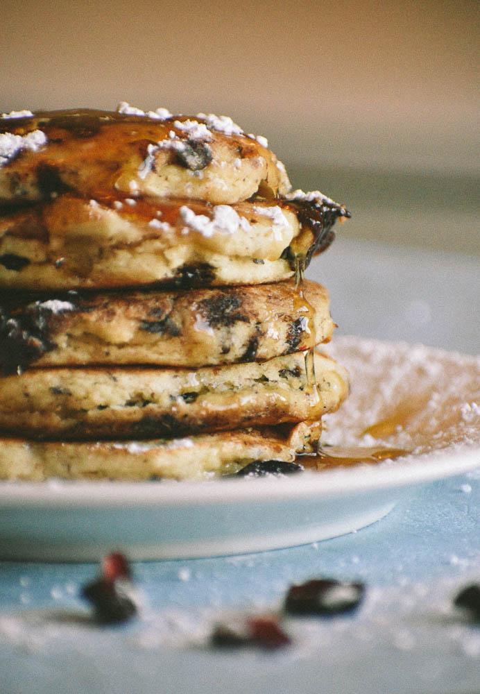 Dark Chocolate, Cranberry Almond Flour Pancakes