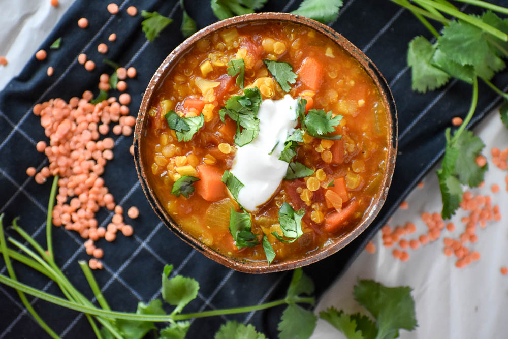 Curried Quinoa & Red Lentil Soup